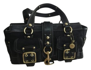 Coach Vachetta Leather Satchel in Black and Black