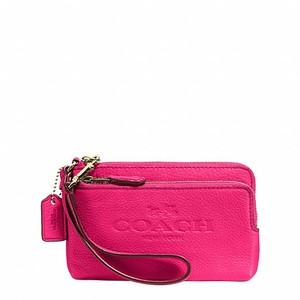 Coach Coach Double Zipper Leather Wristlet Pink Ruby F52556