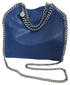 Stella McCartney Faux Leather Chain Crossbody Tote in Blue