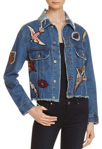 SUNSET + DENIM Frayed Embellished Embroidered Beaded Cropped Blue Jacket