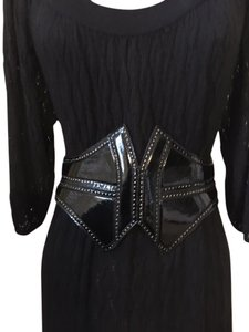ALAÏA Black Patent Leather, Batwing Corset Belt