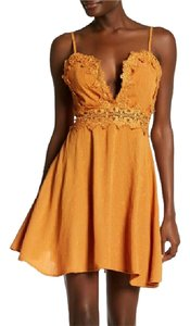 Other short dress Mustard Dance & Marvel Lace Inset Flare on Tradesy