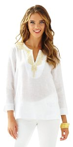 Lilly Pulitzer Linen Casual V-neck Round Embroidered Tunic