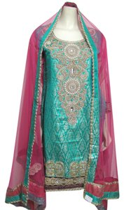 Other Salwar Kameez Beaded Sequins Gold Pink Teal Gold Tunic Scarf Wedding Indian Crystal Junior Jr S Dress