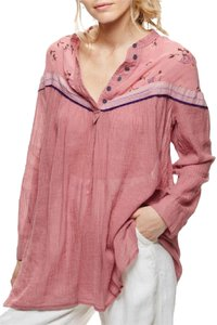 Free People Casual Cotton Rayon Floral Sheer Top pink/black