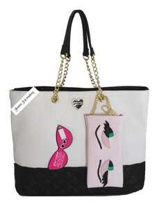 Betsey Johnson Perforated Sunglass Case Tote in BONE