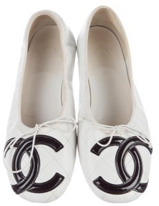 Chanel Interlocking Cc Cambon Quilted Logo Patent Leather Black, White Flats