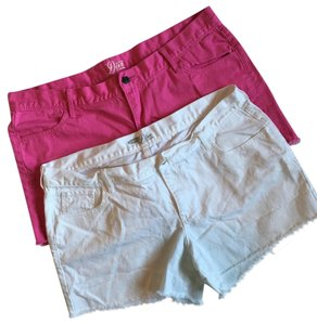 Old Navy Cut Off Shorts Hot Pink, White