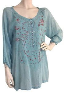 Johnny Was Blouse Embroidered Light Blue Tunic