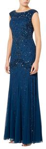 Adrianna Papell Beaded Cap Sleeve Godets Gown Dress