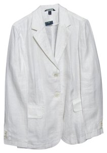 Lands' End New Nwt 100% Linen Spring Summer 12 L Blazer Large Tall 12t Casual Buttoned white Jacket