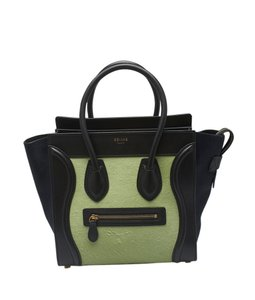 Céline Calf Hair Leather Tote in Black,Green