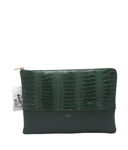 Céline Leather Ostrich Green Clutch