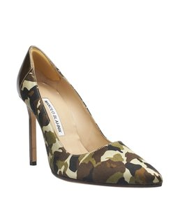 Manolo Blahnik Fabric Leather Brown,Bronze,Green Pumps