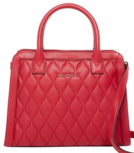 Vera Bradley Quilted Leather Natalie 886003315941 14934-480 Satchel in Tango Red