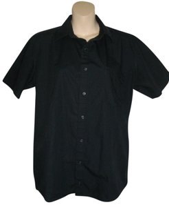 American Apparel Short Sleeves Casual Button Down Shirt Black