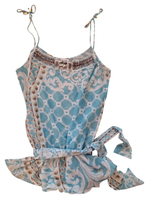 Lisa Kelly Lisa Kelly blue white and gold belted sheer bead embellished coverup, one size