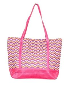 Belle Boutique Chevron Tote in Pink