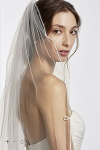 David's Bridal Never Worn White Cathedral Veil With Scroll Edging