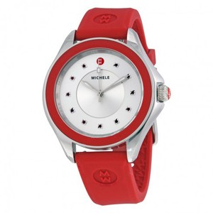 Michele MICHELE Cape Silver Dial Red Topaz Ladies Watch