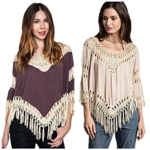 Umgee Bohemian Fringe Frayed Top MultiColor