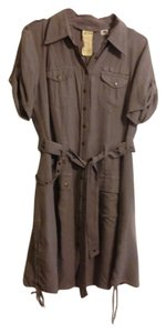 Da-Nang Button-down Button Silk Grey Gray Military Belt Stud Gromet Comfortable Dress
