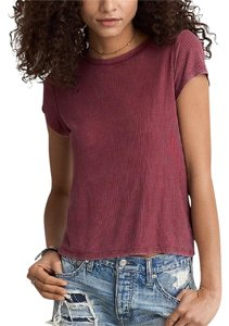 American Eagle Outfitters Mauve Pink Ribbed Shirt Ribbed Tee Dark Pink T Shirt