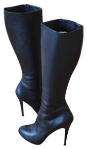 Christian Louboutin Leather Knee High Louboutin Ginevra Black Boots