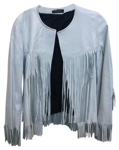 The Perfext Fringe Hem Leather Fringe White Jacket