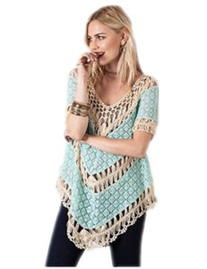 Umgee Frayed Crochet Lace Top Light Blue