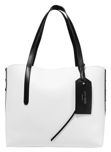 Jimmy Choo Twist Leather Open Top New Tote in black, white