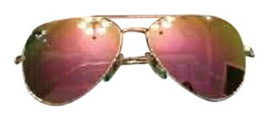 Ray-Ban Pink Ray Ban Aviator Sunglasses Rb3025 Matte Gold Frame Cyclamen Pink Mirror 58mm Lens