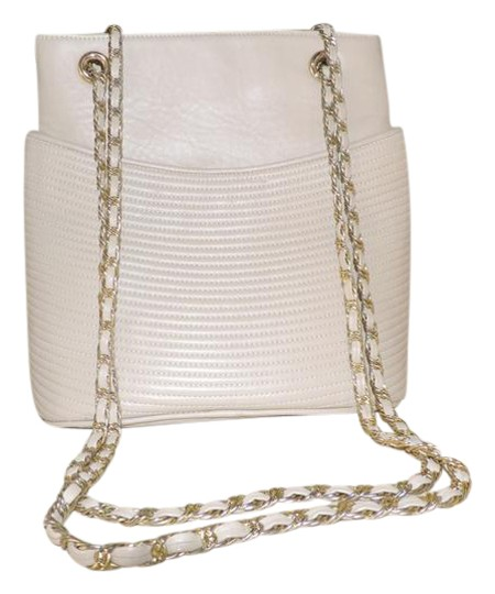 Oleg Cassini Vintage Textured Light Beige Leather Shoulder ...