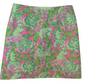 Lilly Pulitzer Cats Birds Short Lilly! Mini Skirt Greens and Pinks