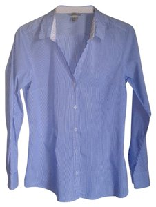 H&M Pinstripe Blouse White Blue Shirt Striped Blouse Striped Shirt Button Down Shirt