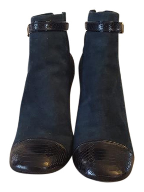 Item - Navy Gracie Snake Embossed Boots/Booties Size US 9 Regular (M, B)