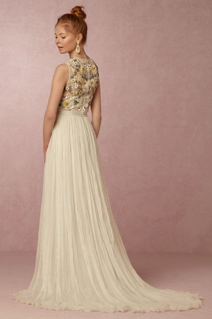 Item - Cream/Off White with Light Blue Pink Green and Yellow Paulette (Bhldn) Vintage Wedding Dress Size 2 (XS)