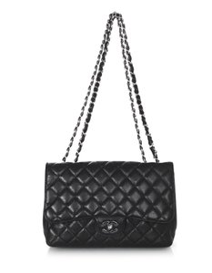 Chanel Caviar Leather Classic Flap Single Flap Silver Hardware Cross Body Bag