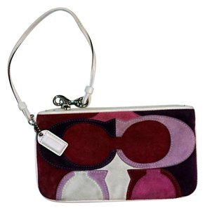 Coach Heart Small Heart C Logo Wristlet in White Pink Plum