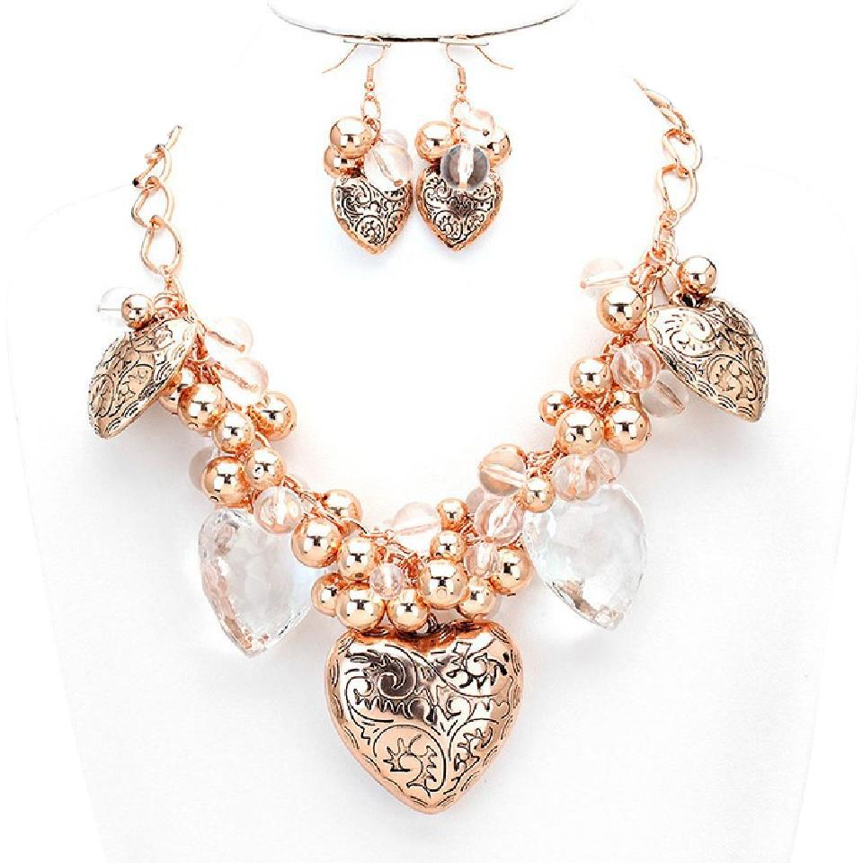 b27a0aed40 Other Chunky Vintage Rose Gold Heart Charms Crystal Necklace And Earrings  Image 0 ...