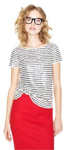 J.Crew Sequins Stripes Top black and white