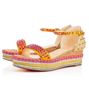 Christian Louboutin Madmonica Wedge Espadrille Orange Sandals
