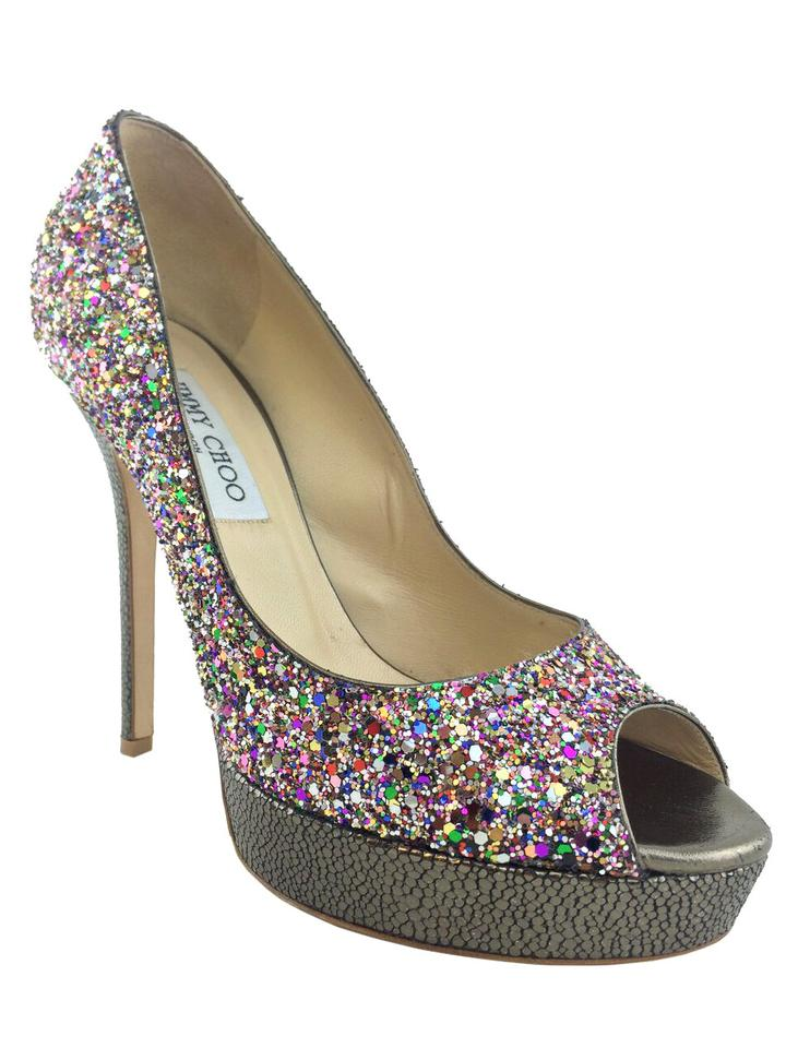 f1ead5159a8f Jimmy Choo Multicolor Crown Glitter Pumps Platforms Size US 8 ...