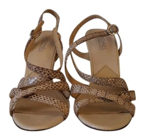Michael Kors beige and black Python embossed Sandals