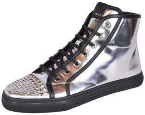 Gucci Sneakers High Top Metallic Silver Athletic