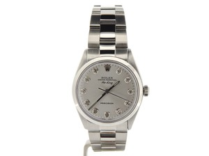 Rolex Mens Rolex Stainless Steel Air-King Silver Diamond 5500