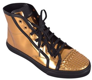 Gucci High Top Sneakers Metallic Gold Athletic