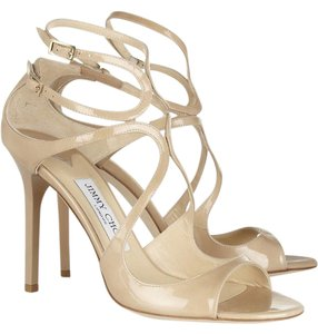 Jimmy Choo Lang 100mm 4 Inch Heel Patent Leather New nude Sandals