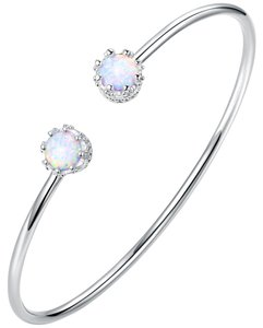 TORI HAMILTON 18K White Gold Plated & White Fire Opal Cuff (BA1443-S-19)