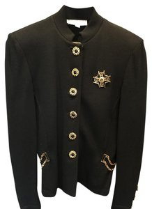 St. John Black knit with gold buttons and trim Jacket